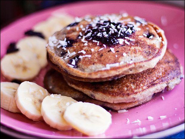 Gluten Free Vegan Quinoa Blueberry Pancakes with Carob Chips, Haskap Jam & Dried Berries Recipe - RecipeChart.com