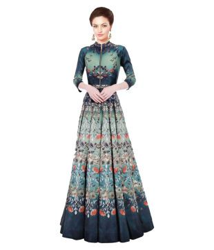 Saryu E Fabric Multicoloured Silk Anarkali Gown Semi-Stitched Suit Price in India - Buy Saryu E Fabric Multicoloured Silk Anarkali Gown Semi-Stitched Suit Online at Snapdeal