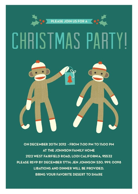 sock monkey christmas party invitation
