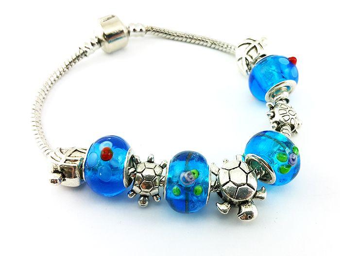 Браслет в стиле Pandora , цвет  синий