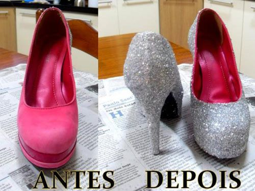 DIY shoes with glitter.   See this DIY here…
