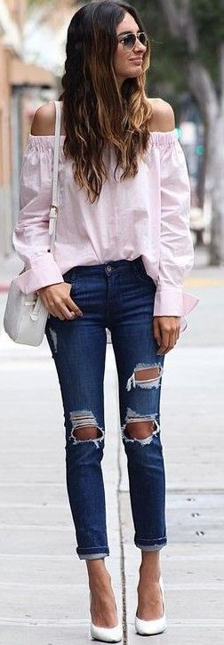 #summer #prefall #outfits | Pink Bardot Top + Jeans