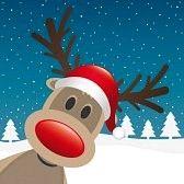 kerst rendier : rendieren rode neus en hoed winterlandschap