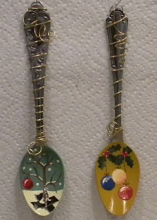 Handpainted Wired Spoon Ornaments
