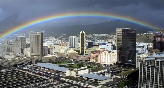Rainbow over the City Bowl in Cape Town