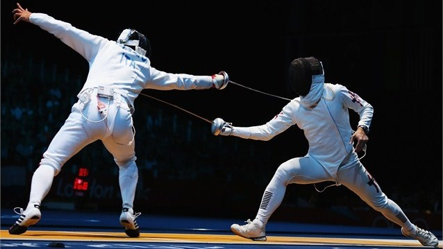 Paolo Pizzo of Italy competes against Ka Ming Leung of Hong Kong, China in the men's Individual Epee round of 32 match on Day 5 of the London 2012 Olympic Games at ExCeL.  /Photo/sport/General/01/31/69/031paolo-pizzo-italy-competes-against-ming-leung-hong-kong-china1316903  Related tags