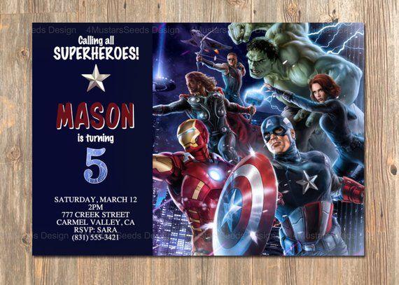 avengers birthday invitation  avengers invite  avengers