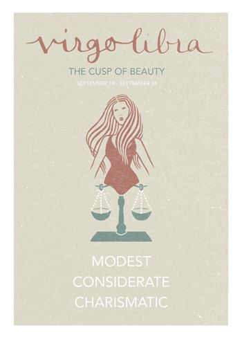 Virgo Libra Cusp Poster. Astrological Cuspian Print. by ZodiacZone