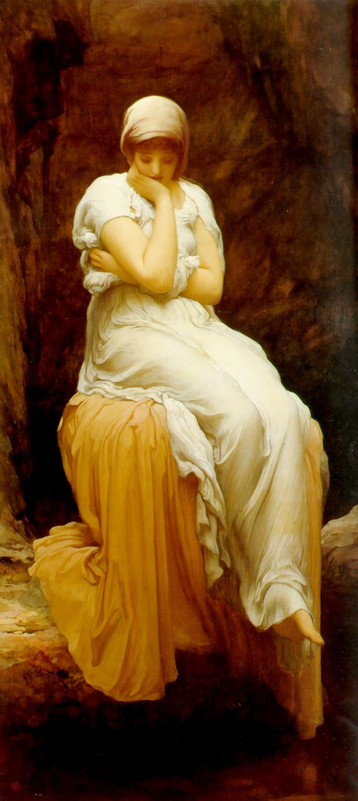 ♛Solitude - Frederic Leighton. Leighton is a master of painting fabric.