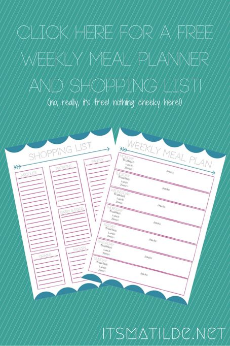 Free Weekly Meal Planner and Shopping List - Click here | Itsmatilde.net