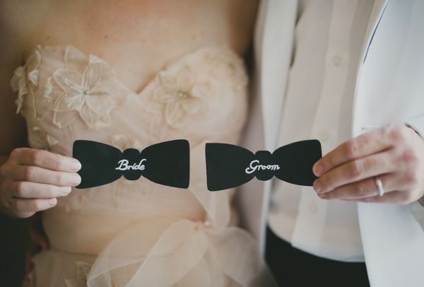 bow tie place cards // concept by Habitually Haute Events, photo by Sarah McKenzie Photography