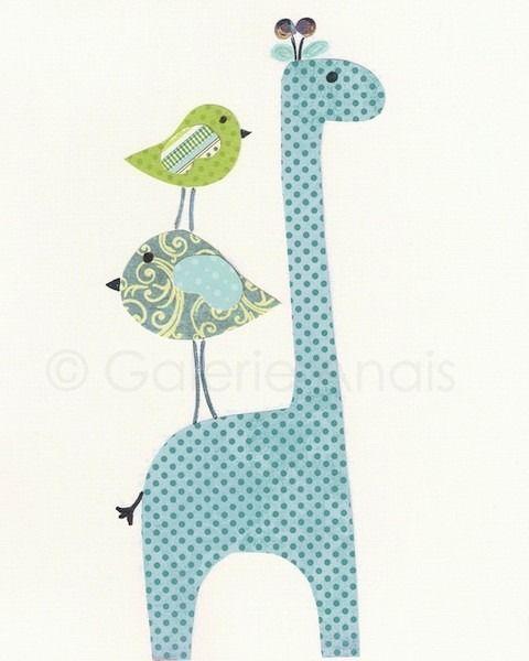 Illustration pour chambre d'enfant garçon décoration Girafe Bleu