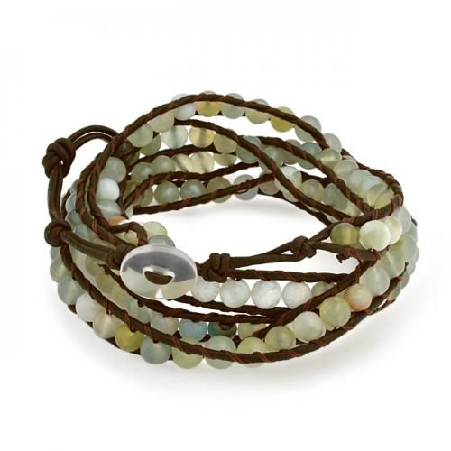 Bling Jewelry Green Phrenite Gemstone Bead Wristband Leather Wrap Bracelet 36in
