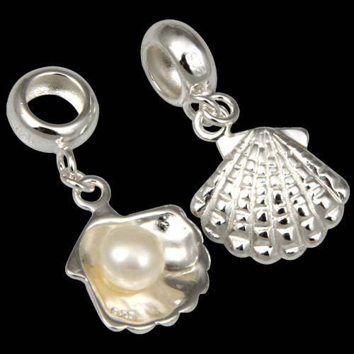 high quality 925 sterling silver dangle shell charm pearls fits pandora charms $7,48