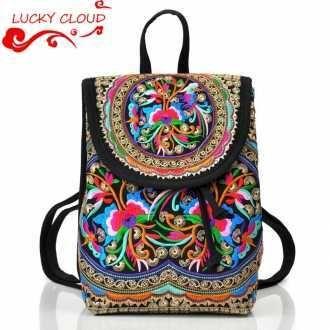 2015 этнические холст шнурок рюкзак женщин вышивка сумка kanken рюкзаки для девочек-подростков mochilas escolares femininas