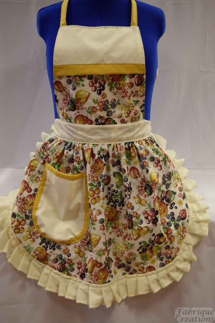 Retro Vintage 50s Style Full Apron / Pinny - Summer Fruits on Cream by FabriqueCreations on Etsy