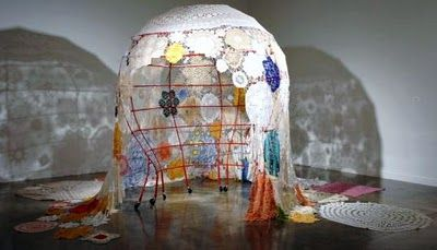 Pip Brant is an artist who uses found and familial textiles to communicate as an artist ..#sculpture  #installation art