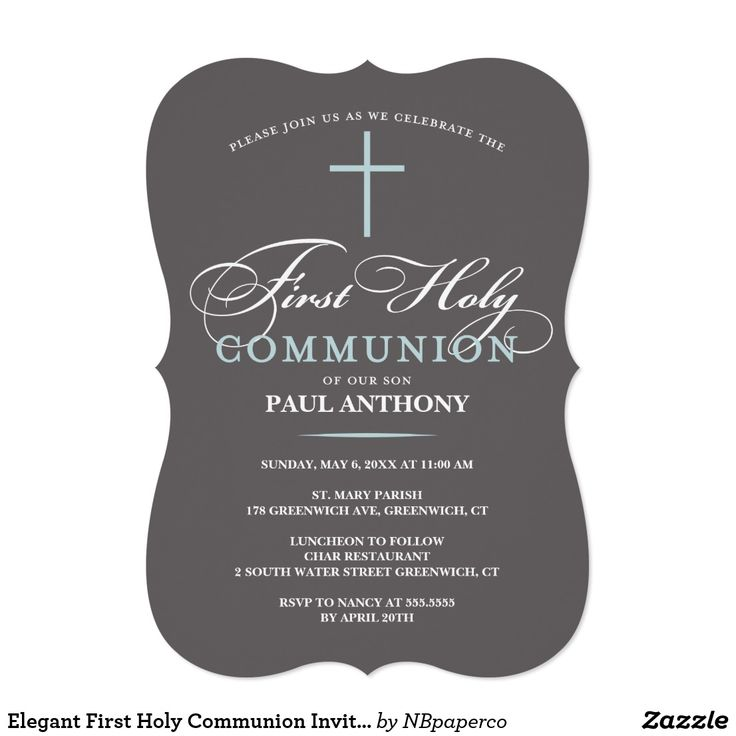 free online printable wedding thank you cards%0A Elegant First Holy Communion Invitation Blue