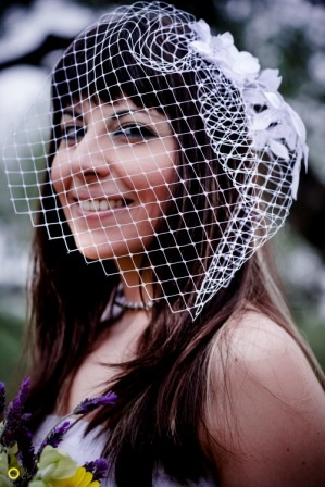 Floral Birdcage Veil in the Mani olive groves - Nymphi Design Bridal Accessories - Greece