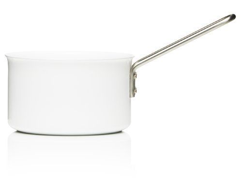 Eva Trio White Saucepan, Aluminum with Ceramic Coating, 1.8-Liter, 16cm by eva solo Kitchen DDP. $85.00. Dishwasher safe. 1.8 liter (1.9 quart), 16 cm (6.3 inch) DIA. Solid aluminum with hard ceramic coating. Beautiful and practical size saucepan with flat bottom and long stainless steel handle that allows for hanging from a pan rack. Danish designed around aesthetics, functionality, and quality; made in denmark. The Eva Trio White collection is a robust range of pots and pans c...
