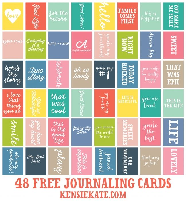 48 FREE Journaling Cards » kensie kate ~~ perfect for Project Life! Love 'em!