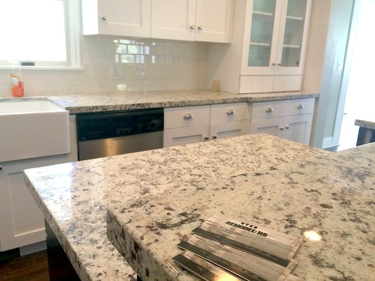 4CM White Ornamental Granite With Subway Tile Backsplash