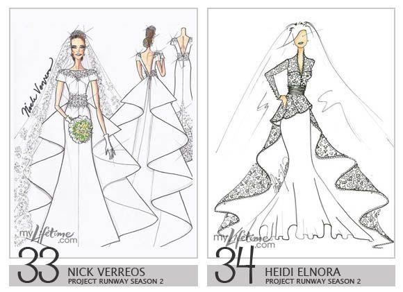 Royalty Wedding Dress Design Sketches - Nick Verreos & Heidi Elnora