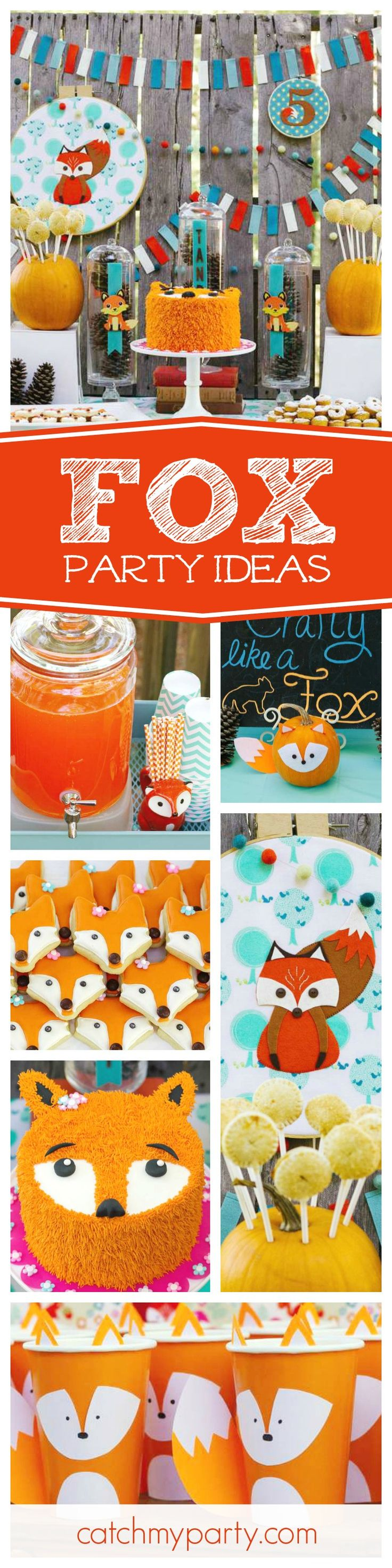 Check out this fantastic Crafty like a Fox themed birthday party. The fox cake and cookies are amazing!! See more party ideas and share yours at CatchMyParty.com