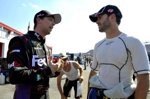 C'mon Jimmy, just let me win the Cup this year and then you can win again next year...   NASCAR Sprint Cup Pictures - CBSSports.com