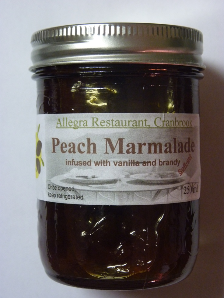 Peach Marmalade, soft set, infused with vanilla and brandy 250ml, $4.50  http://allegrarestaurant.com/html/Allegra-Shop.html