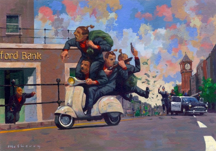 """$120 (Subject to exchange rates). """"The Brentford Job"""" http://www.thecopperhousegallery.com/artists/55-Kevin-McSherry/works/156/#"""