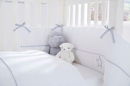 Clair De Lune Silver Lining Cot & Cot Bed Quilt and Bumper Set White | Baby Bedding | George at ASDA