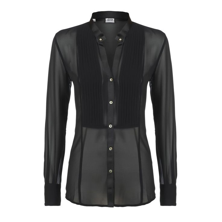 woman shirt in georgette with plastron