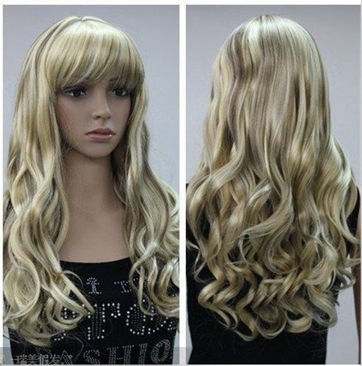 Cos blonde brown  mixed long curly cosplay split -type wig +gift  #FullWig $18.72