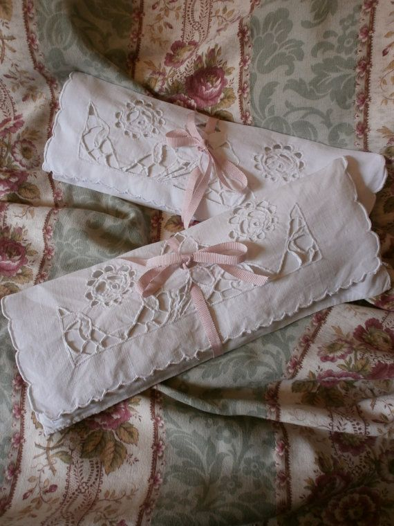 French Linen Cutwork Lace Little Pillows by FrenchCountryLiving