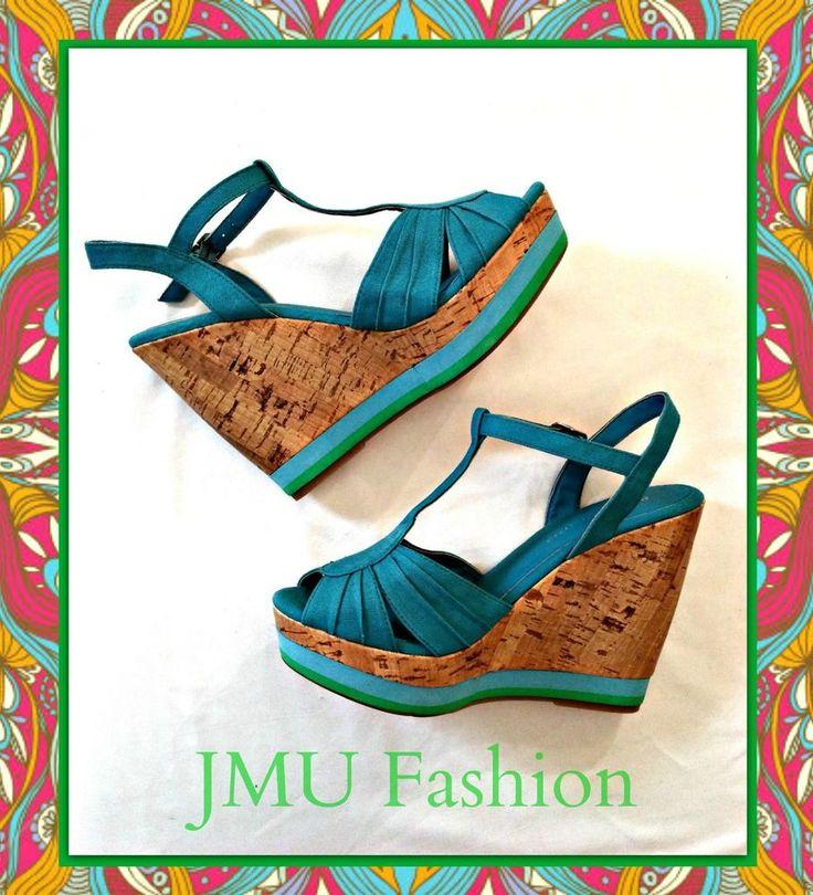 Cork Madden Girl Turquoise Wedges Sz 7M  #MaddenGirl #PlatformsWedges