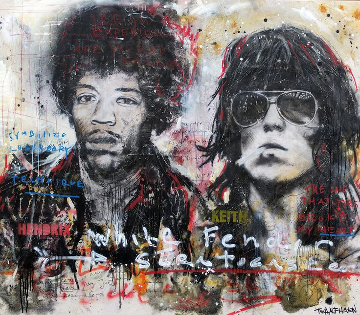 Jimi hendrix and Keith Richards the rolling stones by Nick Twaalfhoven Neo-pop Art kunst, moderne kunst, modern art, pop art, dutch artists, dutch art.