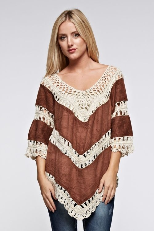 NWT  brown suede Cowgirl Crochet poncho style top junior size S #gege #Western #Casual