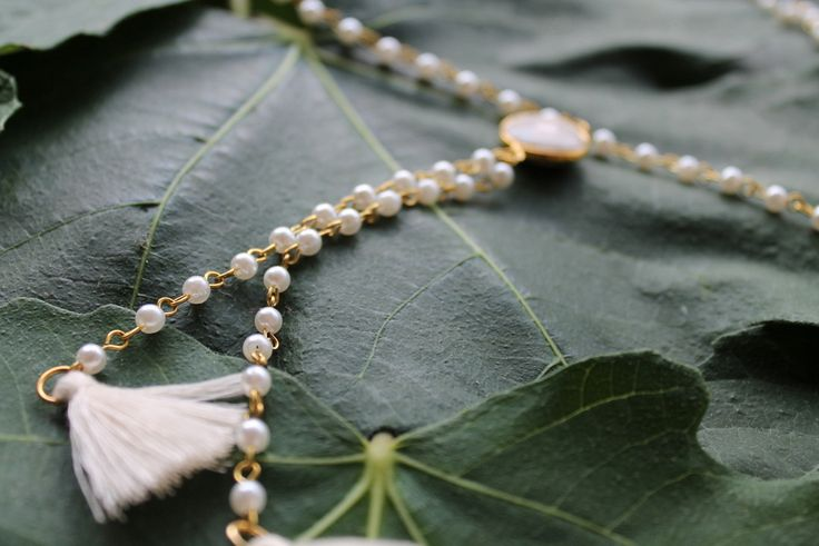 Rosary from white pearls and white facet coral element.  Younique.gr, handmade for you!