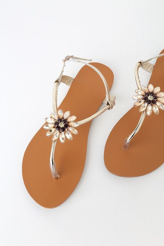 7014960ab4b6 Cute Gold Sandals - Rhinestone Sandals - Slingback Sandals