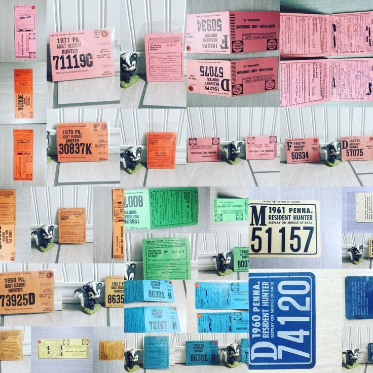 A Rainbow Of Pa Hunting Licenses- A Perfect Blend Of Vintage Color And Manly Man Cave Decor! super Cool Ephemera Set Ready To Be Enjoyed In Your Home!