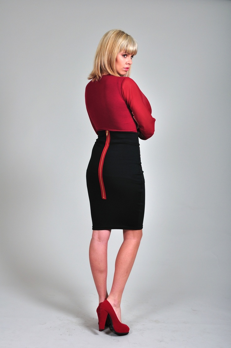 Diligo black pencil skirt with exposed zip | www.diligo.co.za