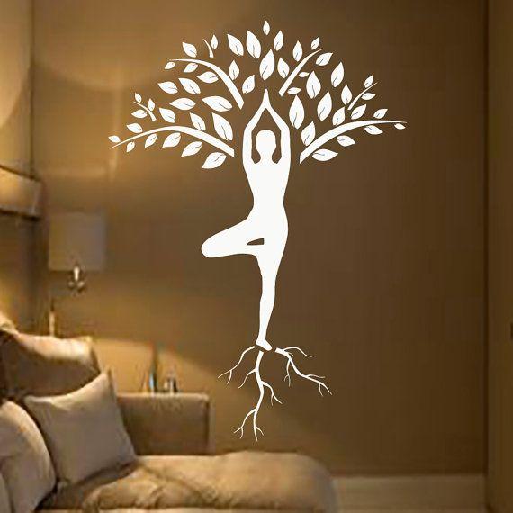 Baum Wall Decals Kunst Turner Decal Yoga Meditation von CozyDecal
