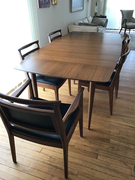 Rare Vintage Mid Century Walnut Dining Table And 6 Chairs By John