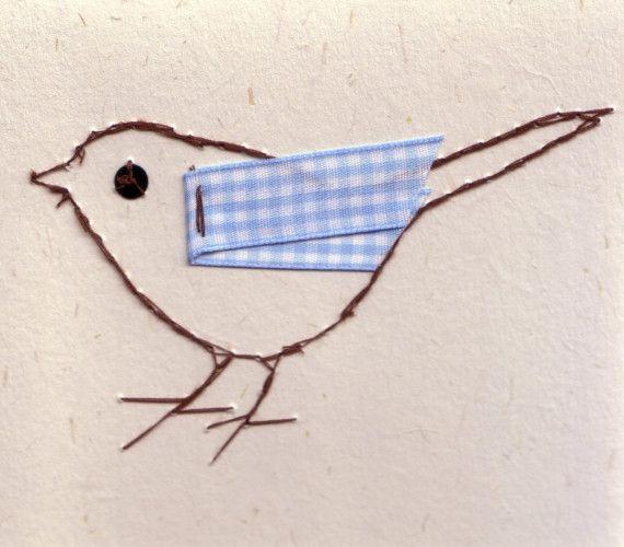 Garden Bird Stitched Card by EthelandIris on Etsy