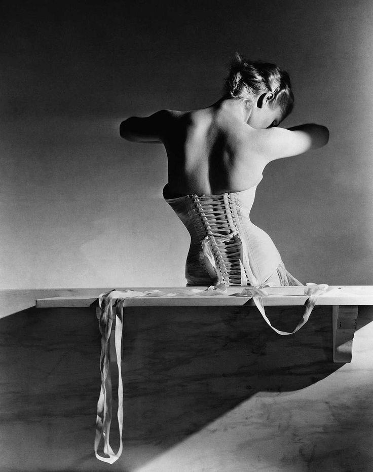 Horst P. Horst, The Mainbocher Corset, 1939 / 2014 © www.lumas.com/ #Lumas - #analogue #analogue #photography #Back #Blackandwhite #Black and #White #Photography #Corsage #Corset #Corsets #Lingerie #People #Photography #VogueCollection #Woman #Women