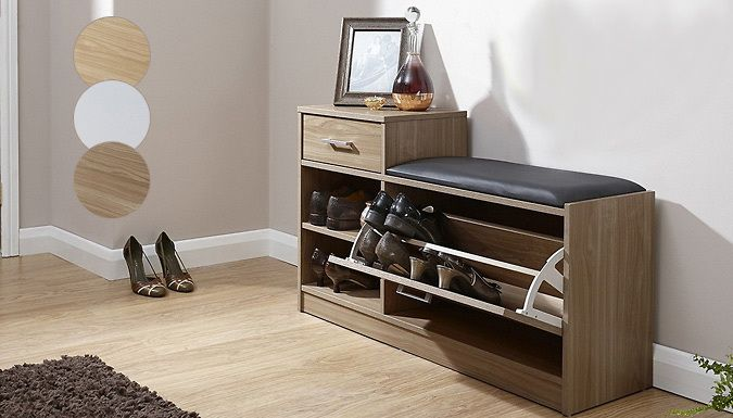 Buy Shoe Storage Unit - 3 Colours UK deal for just: £99.00 Stash your stilletos away in this stylish Shoe Storage Unit      Choose from walnut, oak or white colours      Designed with a faux leather seating area      Great for using as a perch while you put your shoes on.      Pull-out drawers can hold numerous pairs of shoes      Side table design can be used to place objects upon      The...