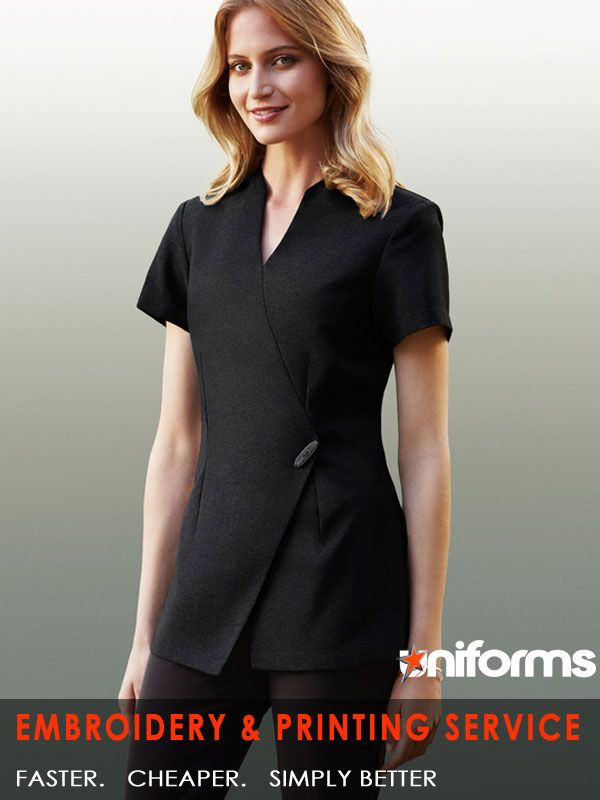 healthcare uniforms-Spa Tunic  97% Polyester, 3% Elastane Perfectly fit in healthcare uniforms Premium stretch fabric with linen-like appearance Easy care, Dupont™ Teflon® stain release function Designer style, asymmetrical mock-wrap front Invisible centre back zip, deep side splits  See more at:  https://www.uniforms.com.au/Uniform-Article/health-care-uniforms.html
