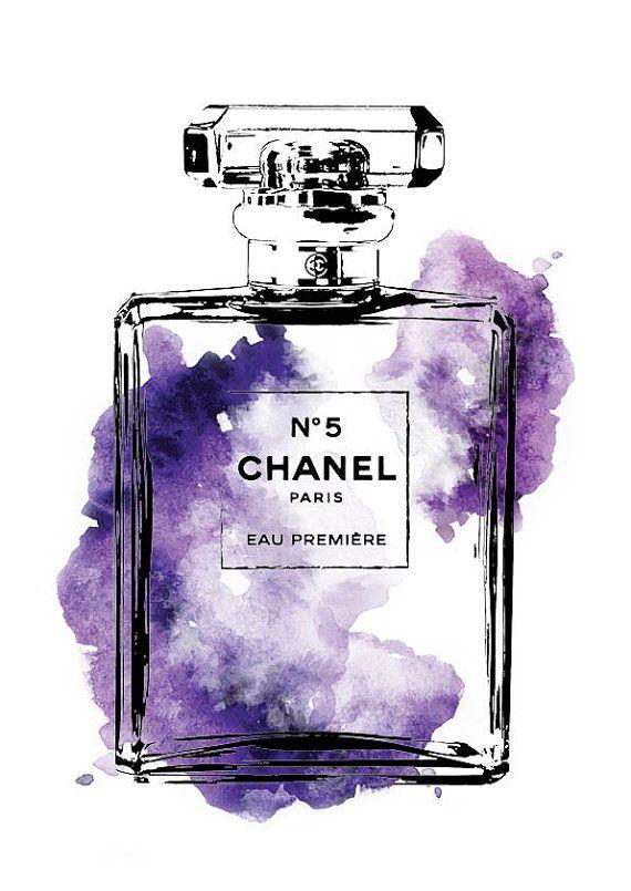 Chanel No.5 акварель фиолетовый, Духи печати печатаемые файла - A4 духи Chanel афиша, искусство моды, подарок для нее