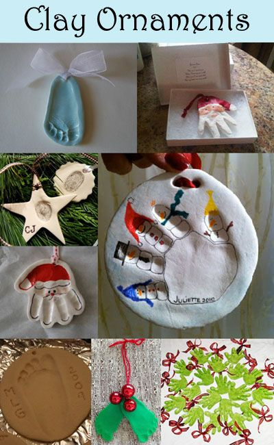 Clay Ornament Keepsakes for Christmas made with handprints, footprints, and fingerprints!